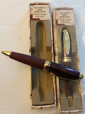 "Pair Of Gift Boxed Brown Easy Grip ""They Didn't Have Your Name"" Men's Pens"