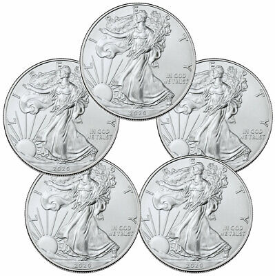 Lot of 5 - 2020 1 oz American Silver Eagle $1 Coins GEM BU DELAY SKU59438
