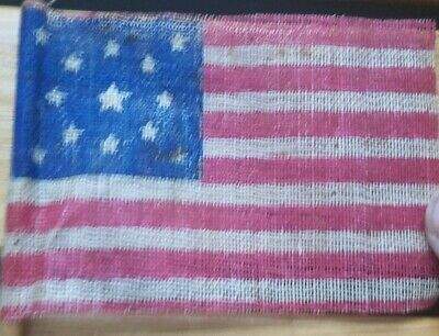 c 1876 OLD VINTAGE 13 STAR CENTENNIAL U.S. AMERICAN PARADE FLAG on Wooden Stick
