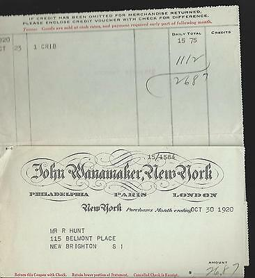 1920 John Wanamaker Department Store New York Sales Receipt Purchase Invoice