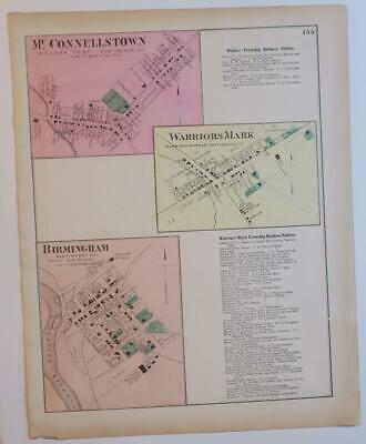 ORIG. 1873 HAND COLORD MAP McCONNELLSTOWN,WARRORS MARK,BIRM'HAM,HUNTINGDON CO,PA