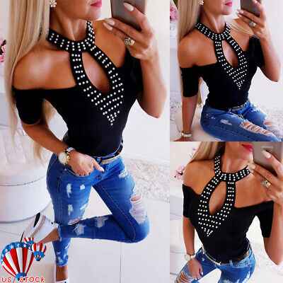 Sexy Summer Womens Cold Shoulder Pearl Tops Blouse Casual Short Sleeve T-Shirt