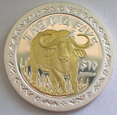 Sierra Leone 2001 Buffalo 10 Dollars Gild Silver Coin,Proof