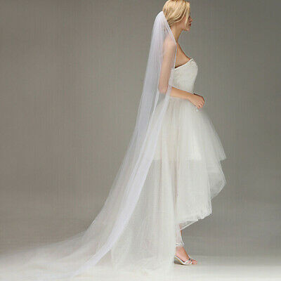 Long Prom Gown Simple Wedding Bridal Veil Cathedral With Comb 2M Decor Practical