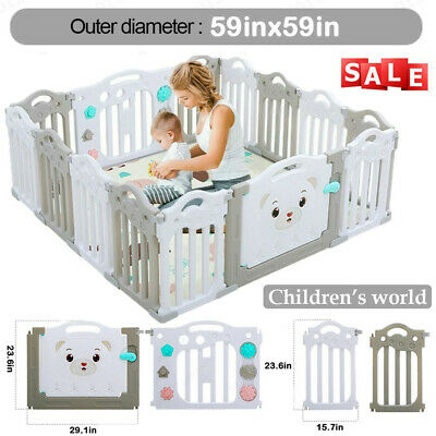 Baby Playpen Kids 14 Panel Safety Play Center Yard Home Indoor Outdoor Pen Fence