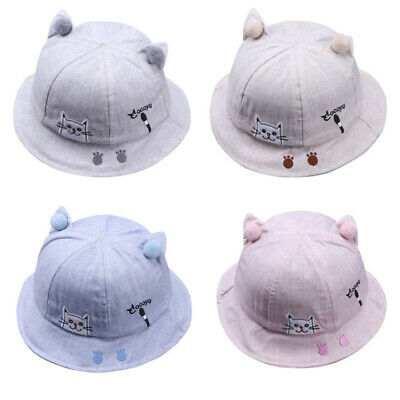 EE_ Lovely Infant Toddler Baby Cute Cat Paw Embroidery Pompom Ball Sun Shade Hat