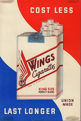 "Wings Red White & Blue 15""x11"" Original Cigarette Advert Poster Circa 1930/40"