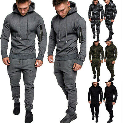 Men Casual Printed Tracksuits Set Gym Sports Sweatshirts Hooded Pullover Sweater