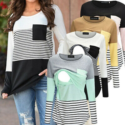 Long Sleeve Stripe Pregnant Women Breastfeeding Nursing T-shirts Maternity Tops