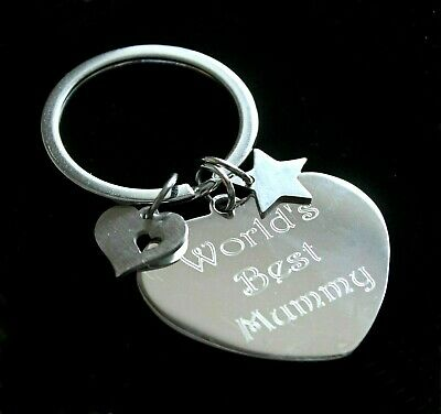 Personalised Engraved Keyring Stainless Steel Heart Star Birthday Christmas Gift