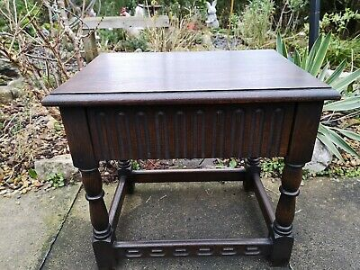 Vintage Antique style Solid oak 17th century style side end table - coffee table