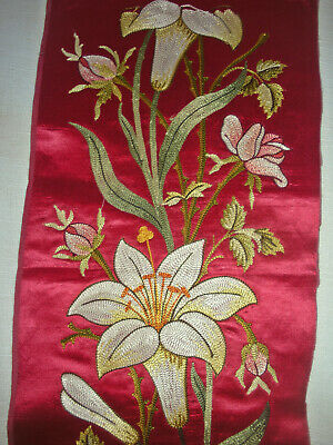 "Antique 19thC Victorian Tiny Scale Hand Embroidered Floral Silk 6/"" Round"
