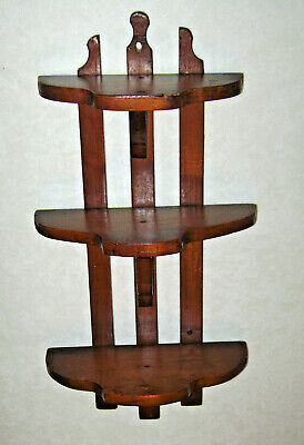 Antique Arts & Crafts Mission Style 3 Tier Wood Wall Shelf