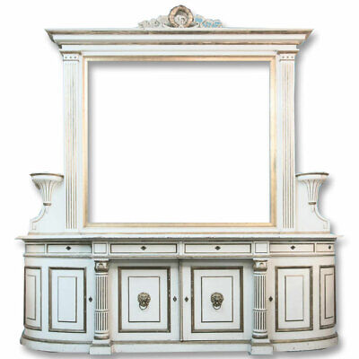 Large Antique 19th Century Sideboard Buffet With Mirror Painted White