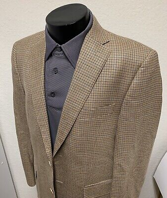Peter Millar Blazer 40 R Houndstooth Plaid Sport Coat Jacket Wool Silk Blend