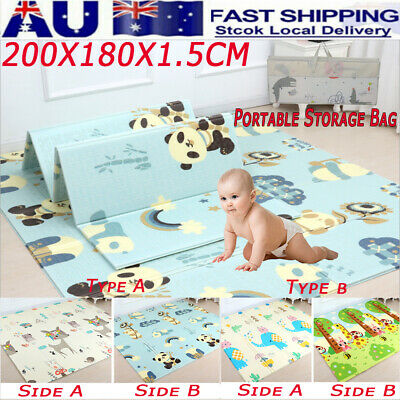 200*180*1.5cm Foldable Baby Kids Play Mat Crawling Picnic Alphabet Floor Rug XPE
