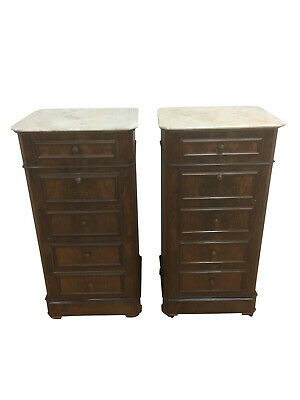 Nice Tall Pair of French Walnut Nightstands, 1920's, Marble Top