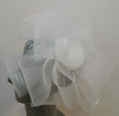 white fascinator millinery burlesque headband wedding hat hair piece