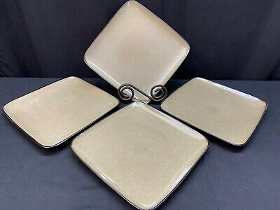 "Gibson Everyday ""RAVE TAUPE""  ~ Set of 4 ~ Square Salad Plates ~ 8 3/4"""
