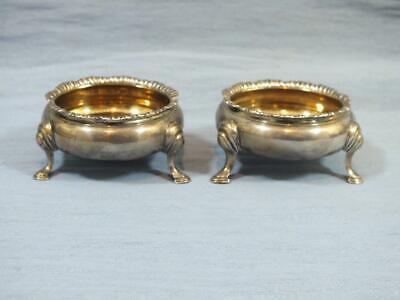 RARE Antique PAIR OF 18c SOLID SILVER FOOTED , OPEN SALT POT S LONDON 1764