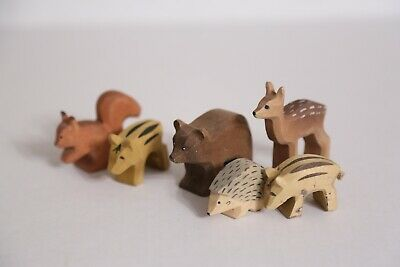 Engelberger LOT of 6 Mini Wooden Hand Carved Animals Bear, Hedgehog, Squirrel