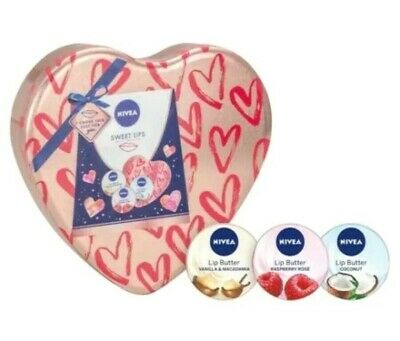 NIVEA Sweet Lips Valentine's Gift Set 3 x Lip Butter Set In A Heart Shaped Tin