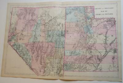 ORIGINL 2-SHEET 1880 Mitchell's New General Atlas UTAH & NEVADA HAND-COLORD Map