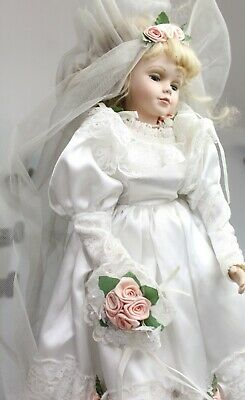 Porcelain Doll in White Wedding Dress on Stand