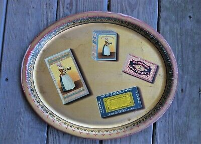 """VTG Antique Bakers Chocolate Tin Advertising Serving Tray 16 5/8"""" x 13 5/8"""" RARE"""
