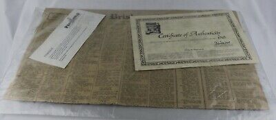 The Brisbane Courier Mail Dated 6 June 1918 With Certificate, 54X32 30256