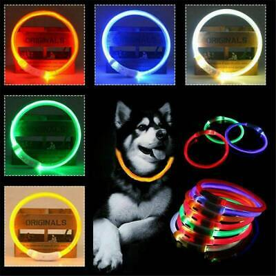 New Rechargeable USB Waterproof LED Flashing Light Band Safety Pet Dog Collar US