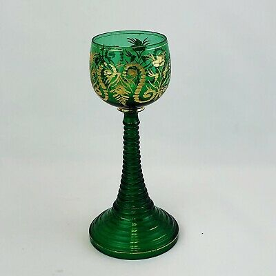 BOHEMIAN Glass MOSER Gold Etched Green Crystal Ribbed Stem Goblet