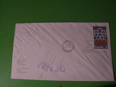 Canada Olympic Games Embossed  Fdc Cover Hand Signed Swimmer David Wilkie