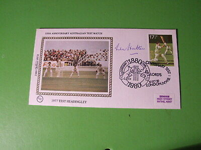 Benham Small Silk  Fdc Cover Hand Signed Len Hutton - Cricket - See Postage Off
