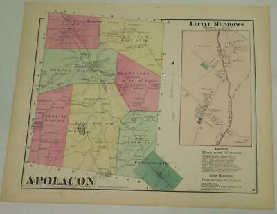 1872 Susquehanna County PA HAND-COLORED APOLACON Townshp MAP,OWNRS,BUSINESS LIST
