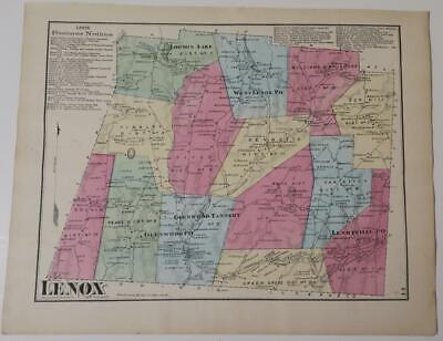 1872 Susquehanna County PA HAND-COLORED LENOX Township,OWNERS,LAKES,BUSINESSES,