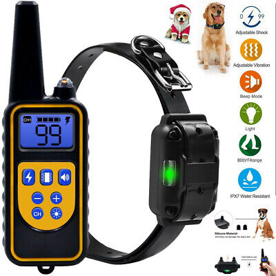 Dog Shock Collar With Remote Waterproof IP67 Electric For 875 Yard Pet Training