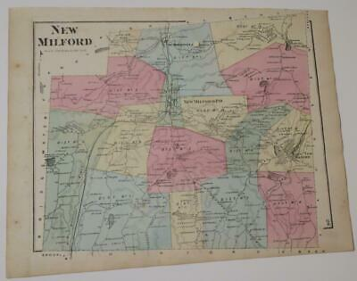 1872 Susquehanna County PA HAND-COLORED NEW MILFORD TownshIp MAP,OWNERS,RAILROAD