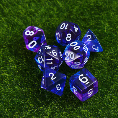 7Pcs Polyhedral Acrylic Number Dice Set Party Leisure Toy for Bar Playing Game