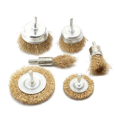 6Pcs Brass Brush Steel Wire Wheels Brushes Drill Metal Rust Removal Brush Set