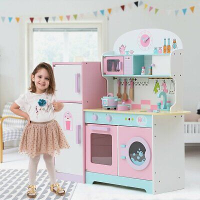 Large Kids Wooden Play Kitchen, Children's Role Play Pretend Toy&Games Set