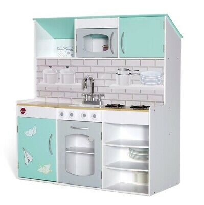Plum Peppermint Townhouse 2 in 1 Wooden Kitchen & Dolls House Play Set