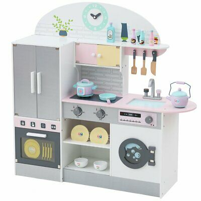 Wooden Pretend Play Toy Kitchen for Kids with Role Play Fridge Grey Cooking Set