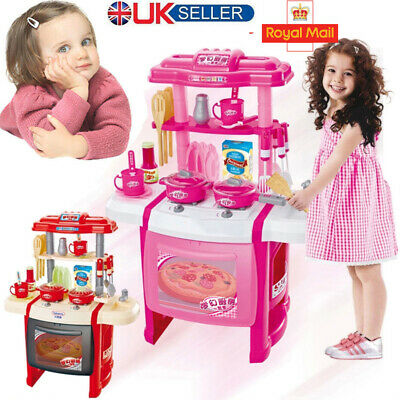 Red Kitchen Cooking Toys Girl Portable Electronic Children Kids Cooker Play Set