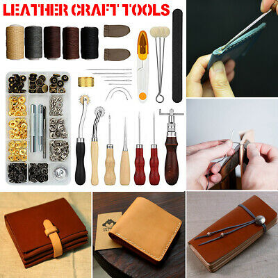 Leather Craft Tools Kit Hand Sewing Stitching Punch Carving Saddle Rivets Alloy