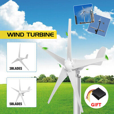 3000W Wind Turbine Generator Kit 3/5 Blades Charge Controller Home Power 12/24V