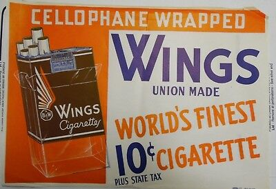 "Wings Cellophane Wrapped 20""x14"" Original Cigarette Advert Poster Circa 1930/40"