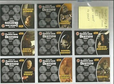 England Star Wars ROTS BURGER KING CHOOSE YOUR DESTINY scratch tickets (2005)