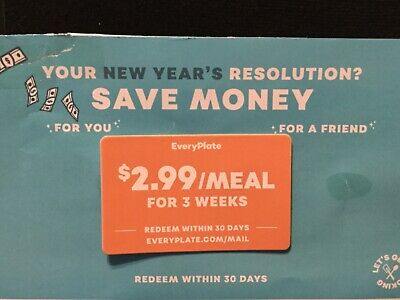 EVERYPLATE MEAL $2.99/Meal for 3 Weeks Redeem card within 30 days GREAT DEAL