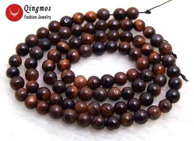 """6mm Round Natural Red Tiger's-eye Beads for Jewelry Making DIY Loose Strands 15"""""""